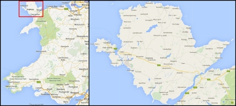Wyspa Anglesey na mapie Walii