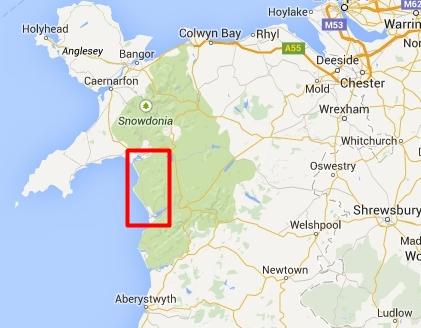 Ardudwy na mapie Walii