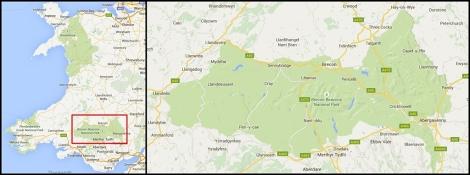 Park Narodowy Brecon Beacons na mapie Walii