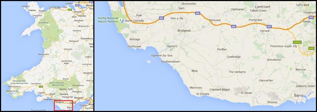 Wybrzeże Glamorgan na mapie Walii
