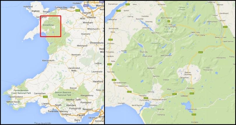 Snowdonia na mapie Walii