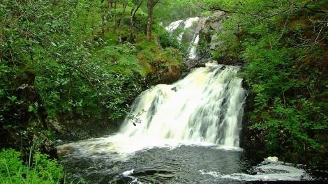 Wodospad Rhaeadr Ddu w lesie Coed Ganllwyd