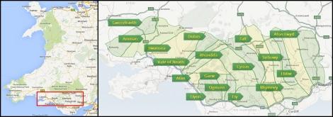 Doliny na mapie Walii (mapa Dolin za: http://www.thevalleys.co.uk/)