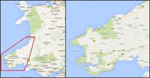 Zachodnia Walia - Mapa