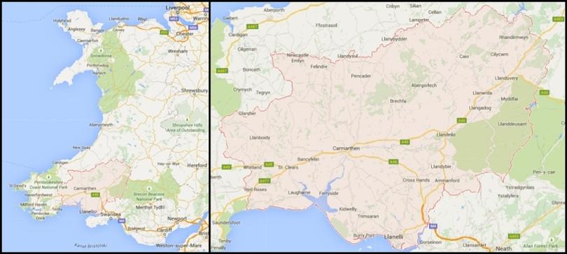 Carmarthen na mapie Walii