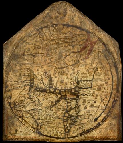 Herefordzka Mappa Mundi. Źródło: wikipedia. Kliknij żeby przejść do zdjęcia o wyższej rozdzielczości.